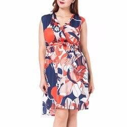 Summer New Flower Print Sleeveless Dress Women Empire Fit and Flare Dresses Plus Size L-3XL Fashion Vestidos Femme 1