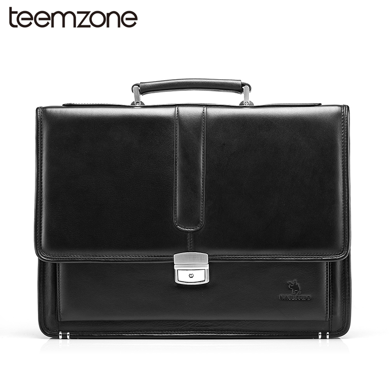 Hot Business Bag Men's Genuine Leather Vintage Formal Business Lawyer Briefcase Messenger Shoulder Attache PortfolioTote T8880 teemzone top men genuine leather vintage formal business lawyer briefcase messenger shoulder attache portfolio tote brown t0581