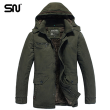 Plus Size M-4XL Hooded Coat parka men Add velvet thick warm long men Winter Jacket Mens jacket Y123