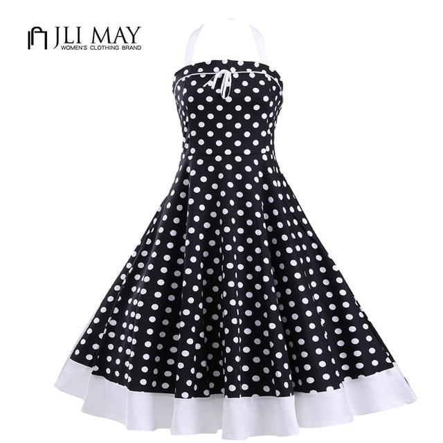 JLI MAY Party polka dot summer Dress women Vintage 50s Rockabilly dresses  Ball Gown Strapless Sleeveless pin up Audrey Hepburn 9f25ea16fee3