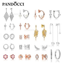 PANDOCCI 100% 925 Sterling Silver GRAINS HEART Pearls Luminous Ice Glacial String of Beads EARRINGS Cascading Glamour Earring(China)