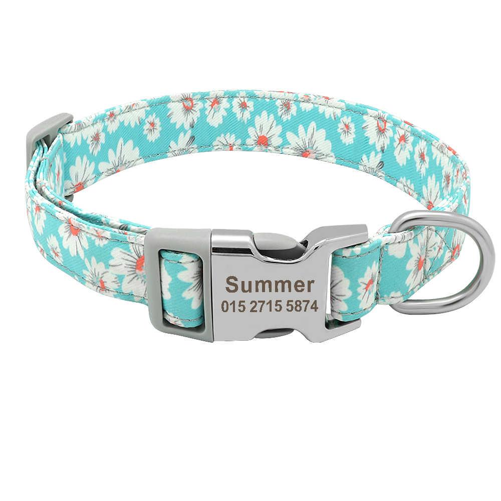 Angepasst Gedruckt Pet Kragen Nylon Hund Kragen Personalisierte Freies Gravierte Welpen ID Name Kragen für Small Medium Large Hunde Mops