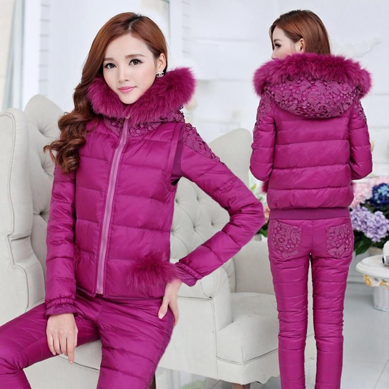 Casacos Femininos 2015 Winter Coat Suit Women Fur Collar Lace Patchwork Slim Parka (Coat+Pants+Vest) Set H4645 мужской ремень cintos femininos h h037 hyl2 cinto feminino