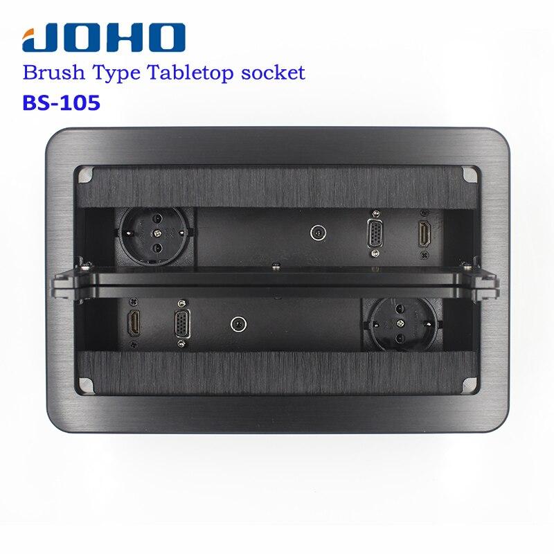 Prise de bureau JOHO en aluminium noir argent panneau EU Standard Type ouvert prise de Table prise électrique avec Port Audio VGA HDMI