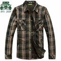 AFS JEEP Original Brand Men's Thickness 100% Cotton Plaid Full Sleeve Shirt,High Quality Real Man's Working Warmly Shirt Red