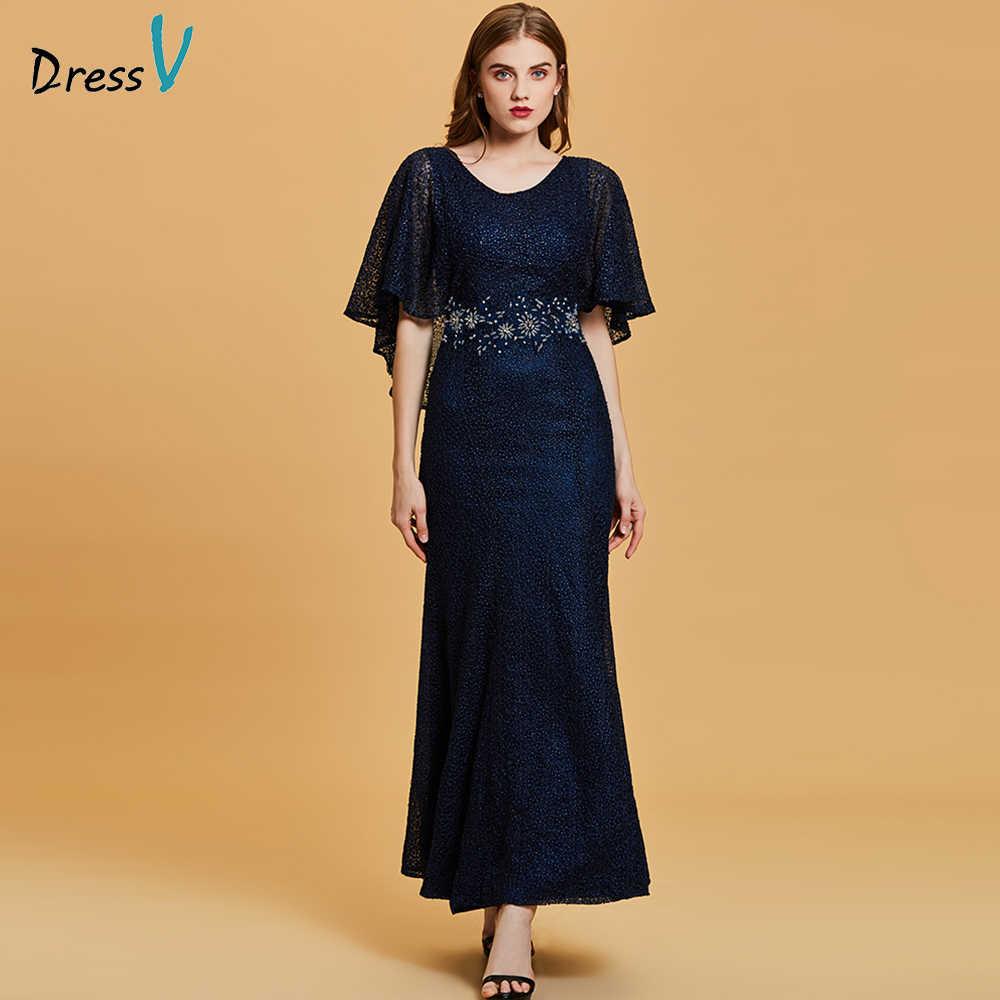 3567c29a664 DressV темно-синий длинный вечернее платье Дешевые Совок шеи бисером  Свадебная вечеринка торжественное платье Вышивка