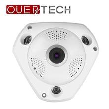 Ouertech visão completa wifi 360 câmera de áudio em dois sentidos câmera panorâmica 1080p visão noturna infravermelha wi fi segurança inteligente ip vr câmera