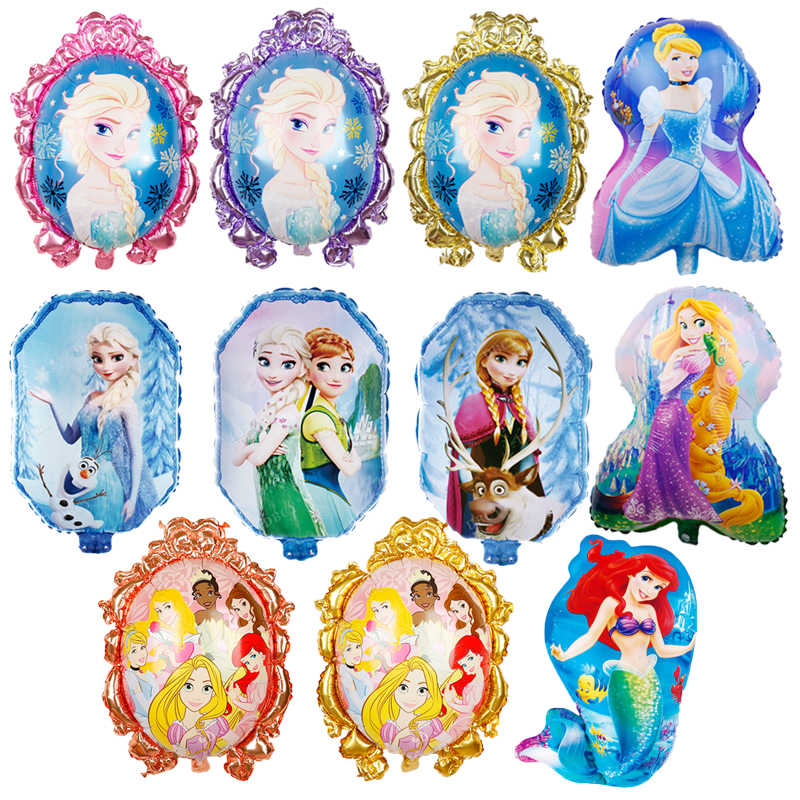1pc Cartoon Princess mermaid Foil Balloons Baby shower Girl Inflatable Helium Globos kids happy Birthday Party decorations balls