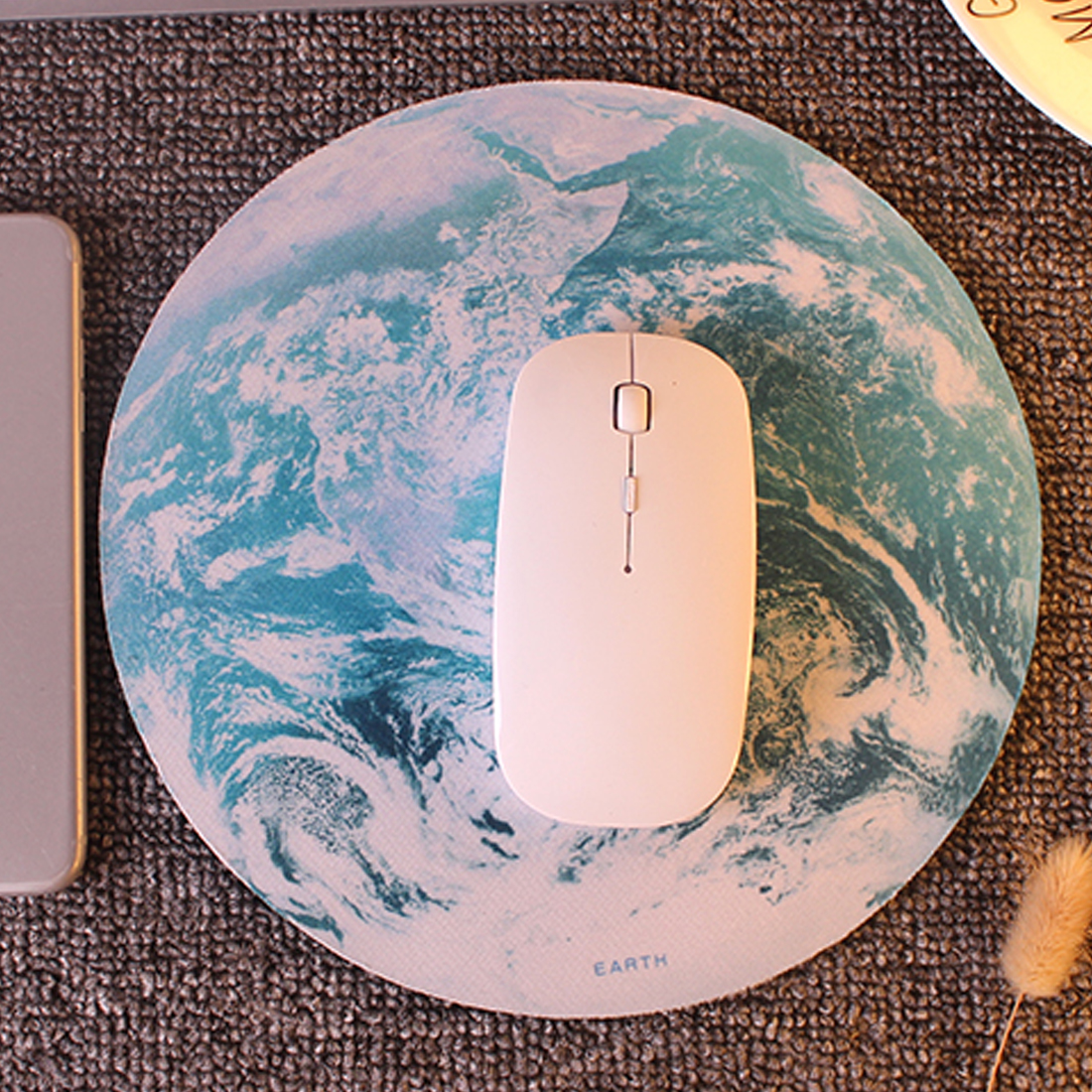 Etmakit Hot Sale Planet Series Mat 220 x 220 x 3mm Circular Mouse Pad With Style Earth/moon/swan/Lotus ...