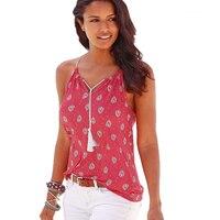 White Red Loose Vest Floral Printed Summer Tops Sleeveless Off Shoulder Halter Camisoles Ladies Girls V
