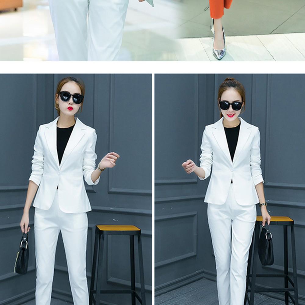 2017 w nowym stylu mody OL eleganckie kobiety pant suits formalna firm garnitur nosić pełne rękawem jednego przycisku femme blazer garnitur szczupła kurtka 11