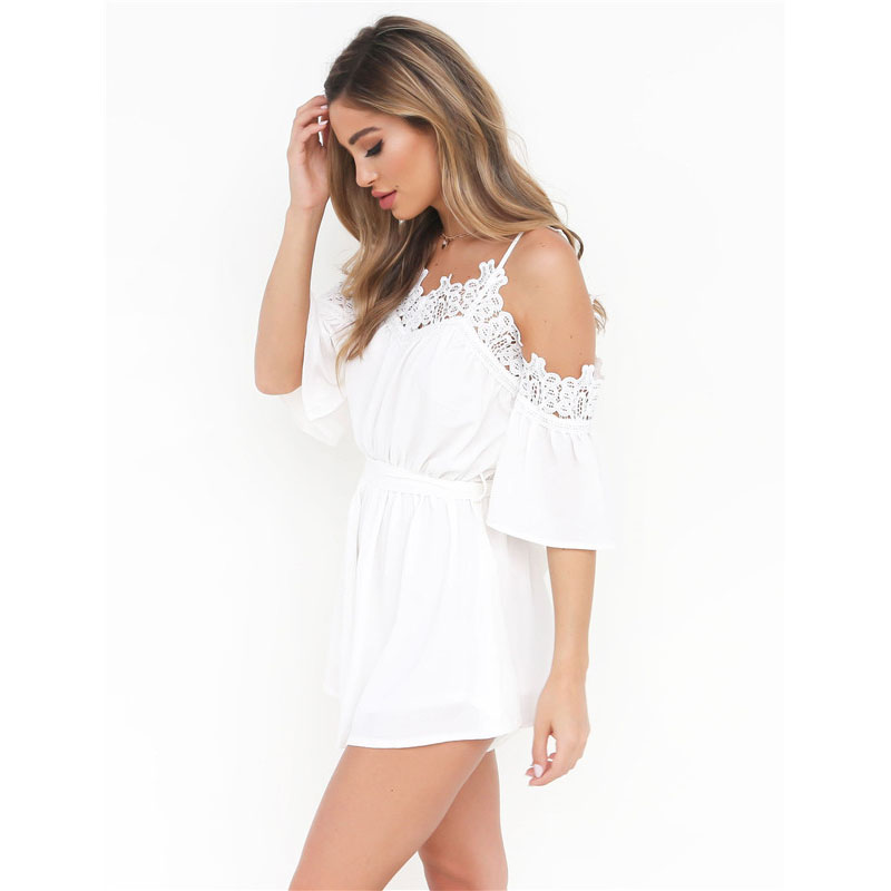 69f7d2dd8aa8 Z KOZE Fashion white lace off shoulder jumpsuit romper Summer beach flare  sleeve playsuit Women sexy slim soft chiffon overalls-in Rompers from  Women s ...