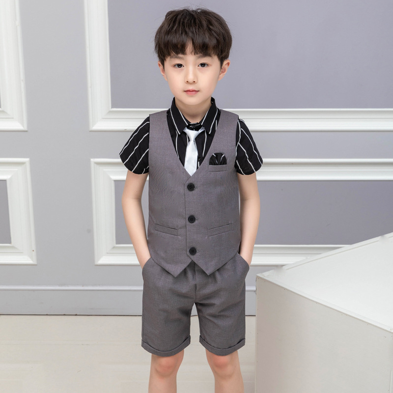 2019 summer new children 39 s wear costumes suit vest male children prince han edition kids clothes boys boys clothing ALI 283 in Clothing Sets from Mother amp Kids