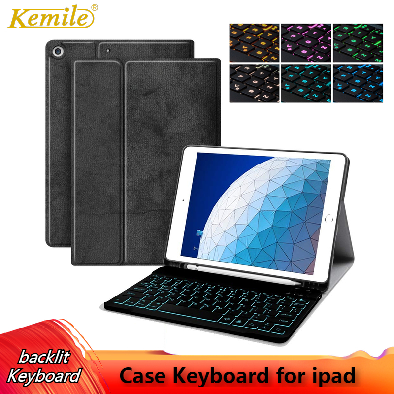 Backlit Keyboard Case For iPad Air 3 10.5 mini 5 7.9 inch Cover W Pencil holder Case For iPad 6th 2018 9.7 For iPad Pro 11 Case