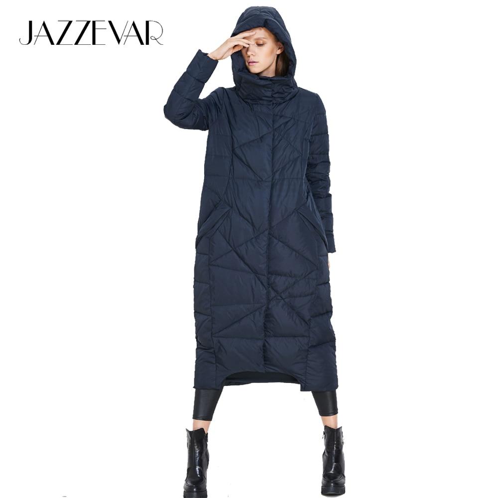 65e9b0ce9 JAZZEVAR 2018 winter new fashion Designer Brand women's long hooded ...