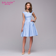 S.FLAVOR Women elegant A-line dress 2019 Spring Summer fashion sleeveless V-neck sexy knee-length vestidos Women casual dress