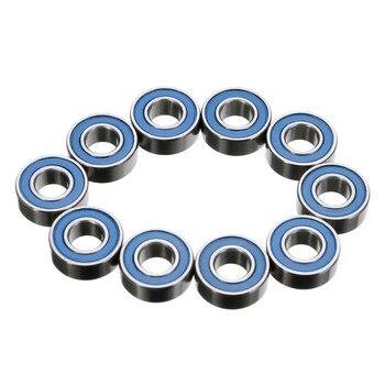 10PPCS MR115RS 2RS rodamientos de bolas de ranura profunda azul caucho sellado cubo de rueda en miniatura bola de acero tamaño de rodamiento 5X11X4mm