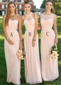 Elegant Long Peach Light Pink Bridesmaid Dress 2016 Halter Long Chiffon Bridesmaid Dresses 3 Styles Cheap Dresses