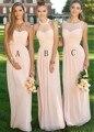 Elegante Longo Luz Pêssego Rosa Vestido Da Dama de honra 2016 Vestidos Halter Longo de Chiffon Vestidos de Dama de honra 3 Estilos Barato