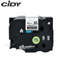 Cidy 5pcs ใช้งานร่วมกับ P touch Tze เทป 36 มม.TZ M961 tze M961 สีดำ Mattesilver สำหรับ Brother เครื่องพิมพ์