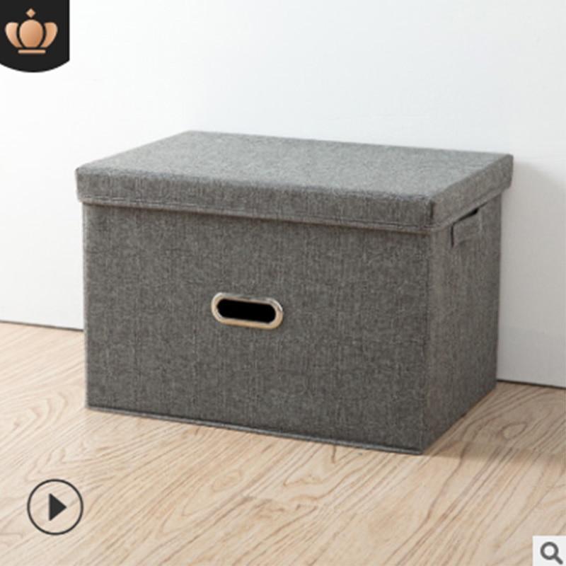 Boîte de rangement de vêtements en lin de coton carré pliant grande armoire organisateur de bac de rangement Rectangle avec couvercle conteneur portable