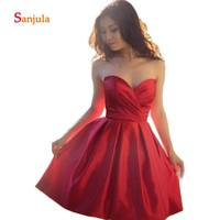 Sweetheart Red Cocktail Party Dress Knee Length Short Homecoming Junior Dresses 2019 Pleast Prom Dress vestidos curtos D867