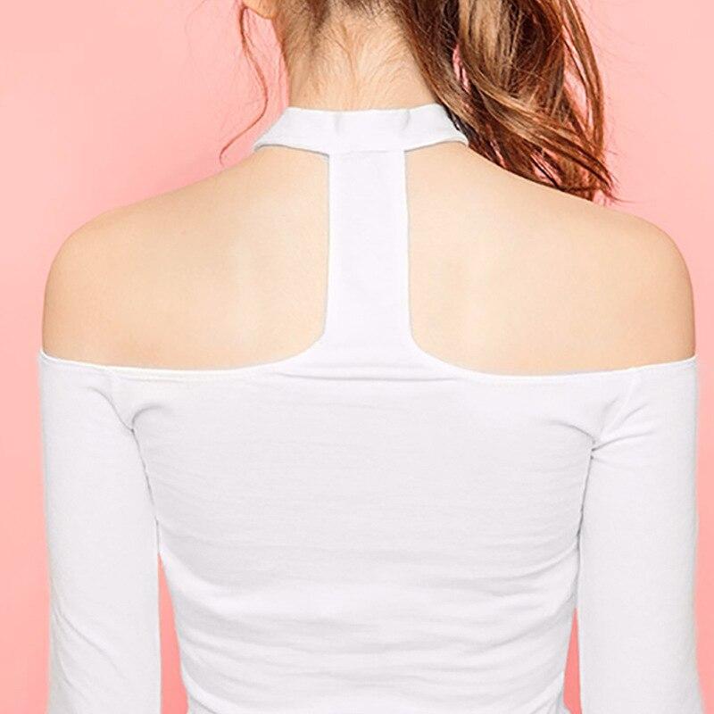 Halter Backless Off The Shoulder Tops For Women Korean Tshirt Womens 2018 Sexy Top Long Sleeve T-Shirt Slim Kawaii T Shirt Femme