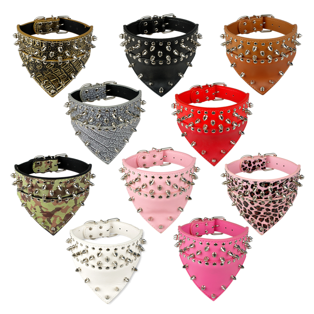 2 Quot Wide Pet Dog Bandana Collars Leather Spiked Studded Pet
