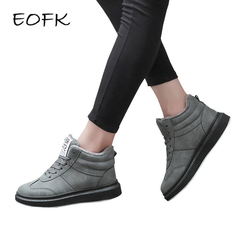 EOFK Women Sneakers With Plush Women   Leather   Shoes New Lace Up High Top Fashion Warm Winter Shoes Woman Women's Sneakers