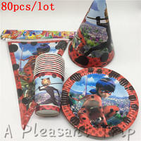 80pcs Lot Party Table Decoration Cardboard Cups Cartoon Animals Miraculous Ladybug Party Baby Supplies Festive Party