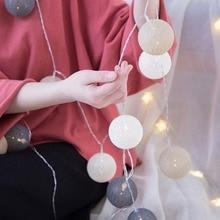 Вечерние светодиодный гирлянда, хлопковый струнный шар, светильник s DIY 6 см, хлопковый шар, светильник, цепочка, сказочный светодиодный светильник, s подарочные украшения для вечеринки на день рождения