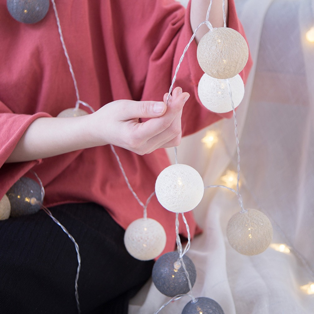 Party LED Garland Cotton String Balls Lights DIY 6CM Cotton Ball Light Chain  Fairy LED Lights Birthday Gifts Party Decoration