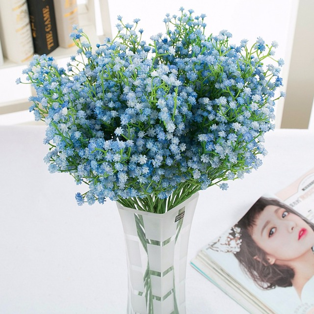 Awesome Us 12 96 30 Off 9Pcs Lot Fake Plastic Baby Breath Flower Blue Gypsophila Artificial Flowers White Wedding Home Decoration In Artificial Dried Interior Design Ideas Clesiryabchikinfo