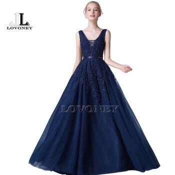 36053abea196680 LOVONEY S301 Sexy v-образным вырезом спинки Длинные платья для выпускного  вечера 2019 кружева Бисер