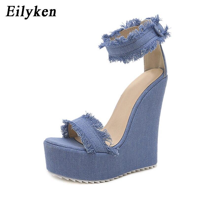 66eddee91f3beb Eilyken 2019 New Summer Blue Denim Sandals High Heel Platform Wedges Sexy  Zip Female Women Sandals Size 35 40-in High Heels from Shoes on  Aliexpress.com ...