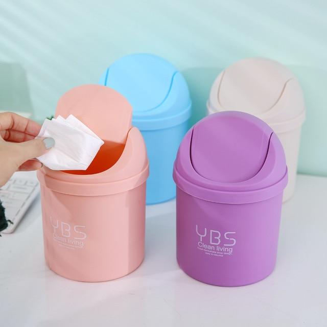 Mini Plastic Trash Cans Rocking Cover Type Kitchen Storage Bottles