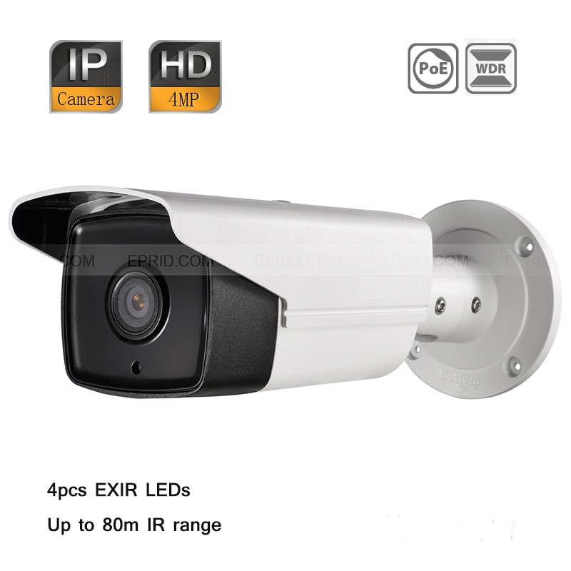 Original English DS-2CD2T42WD-I8 Hik 4MP H.264+ WDR HD Network IP Outdoor 4pcs EXIR Bullet Camera PoE 80M IR