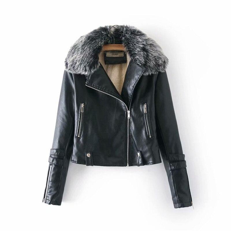 faux   leather   coat women black wine red autumn winter new long sleeve PU coat lapel fashion Plus velvet faux   leather   jacket LR375