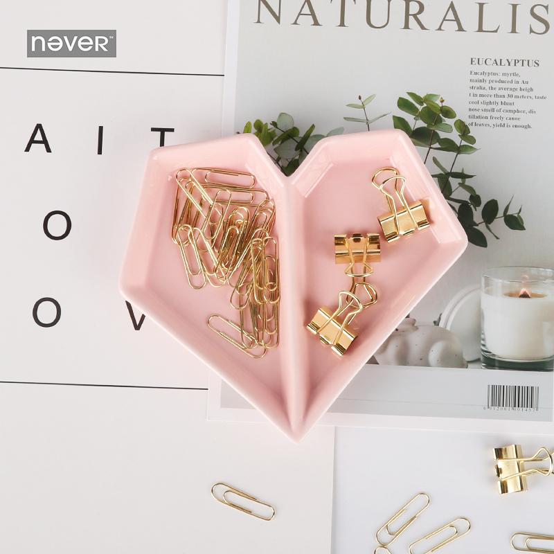 Never Pink Series office business Stationery Set Heart Shape Ceramic Tray Holder With Paper Clips Gift Supplies Stationery Store gisela graham hen ceramic jar set pink