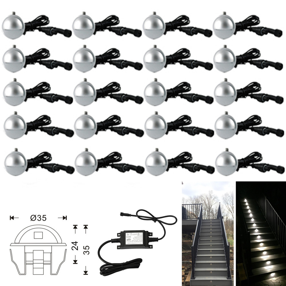 Set Of 20 35mm 0.4W Half Moon Low Voltage Outdoor Garden Yard Landscape LED Deck Step Stair Fence Lights 12V Warm / Cool White