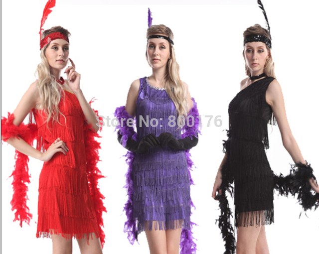 FREE SHIPPING Adult Sexy Roaring 20 s Sequin Black Flapper Dress Costume  with headband 6e42e20dd5d4