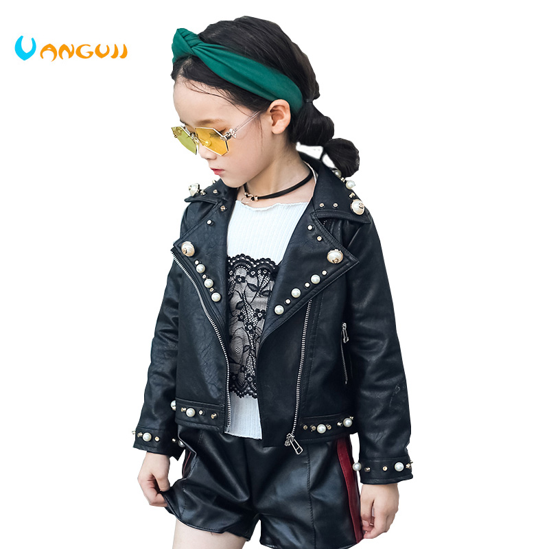 2017 autumn winter hot children PU jacket, 2-7 year old girl fashion Lapel pearl leather motorcycle leather jacket2017 autumn winter hot children PU jacket, 2-7 year old girl fashion Lapel pearl leather motorcycle leather jacket