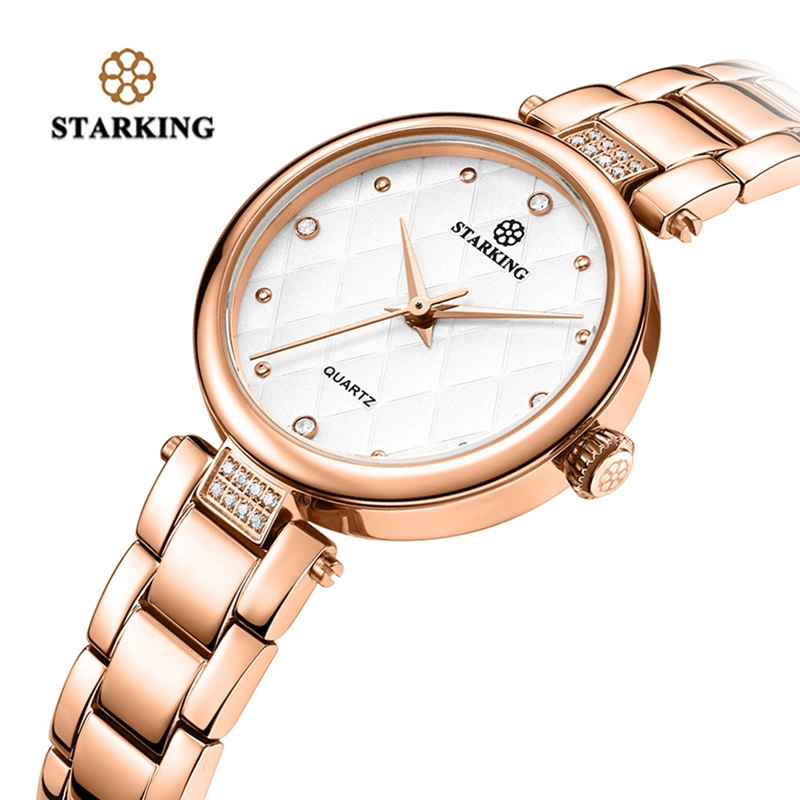 STARKING Watches Women Fashion Crystal Rhinestone Dress Bracelet Women's Luxury Quartz Rose Gold Watch Women's Wrist Reloj Mujer