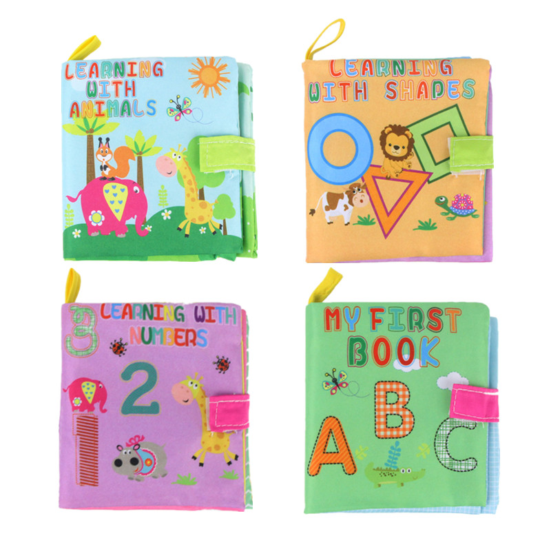 4 Style Educational font b Baby b font Toys Soft Cloth Book Early Development Crinkle Books