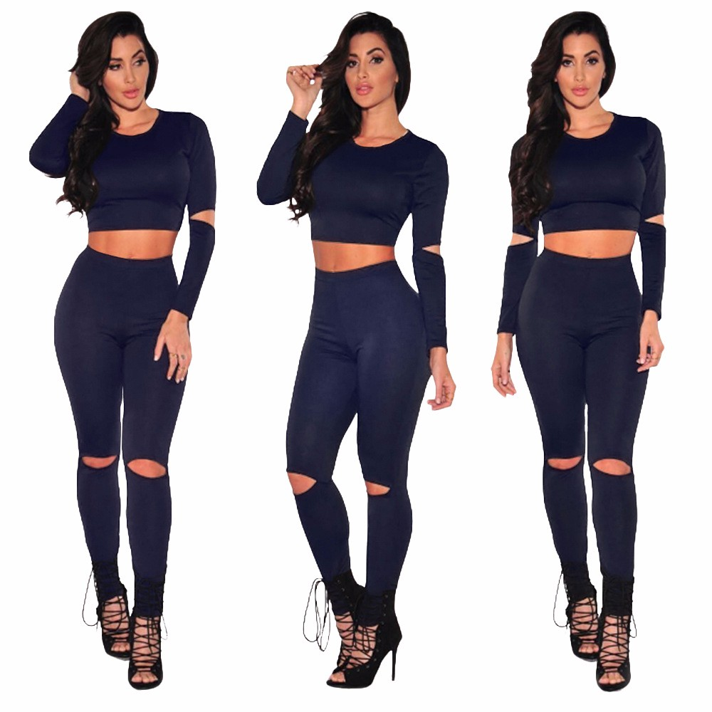 Sexy Two pieces Rompers Women Jumpsuit 2017 New Women Bodycon Jumpsuit O Neck Long Sleeve Fashion Club Bodysuit Bandage Jumpsuit 17