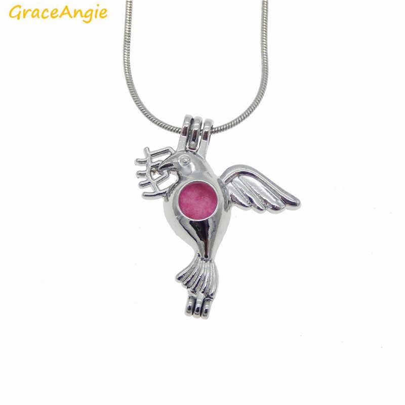 GraceAngie 1 cái Bay Chim Chim Bồ Câu Hòa Bình Mặt Dây Chuyền Vòng Cổ Ngọc Trai Bead Lồng Mề Đay Cầu Nguyện Mong Muốn Treo Thơm Đồ Trang Sức Thời Trang