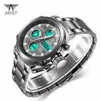 AMST Men Sports Watch LED Digital Wrist Watch Waterproof Analog Military Sport Men Watches Stainless steel Relogio Masculino