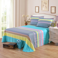 1 Piece 100% Cotton Flat Sheet For Children Adults Single Double Colorful Striped Bed Flat Bedsheets XF631 26