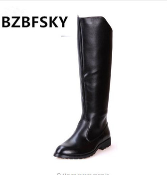 BZBFSKY Boots Men British Military Army Honour Guard Motorcycle Riding Equestrian Mens Boots Knee High Casual Zipper Cowboy