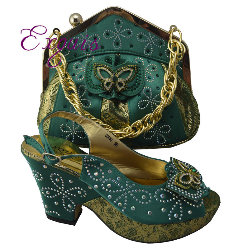 ФОТО Beautiful Italian design Shoes With Matching Bags with rhinestones ,free shipping green size 38-42 GF40A